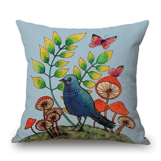 Blue Bird Cushion With Filler (DT)