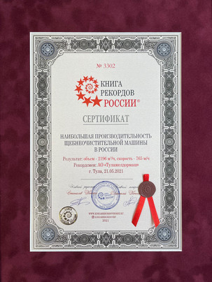 """Certificate of the """"Book of Records of Russia"""""""
