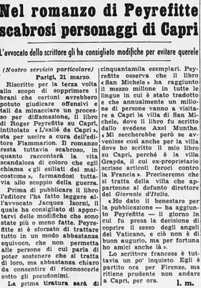 L'exilé de Capri de Peyrefitte vu par la presse italienne