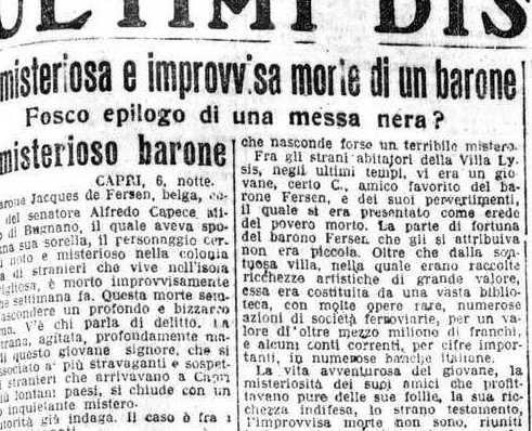 Messes noires, Jacques d'Adelsward par la presse italienne