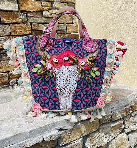 sac à main pour femme personnalisé le Buffle, personnalisé sur un sac en osier naturel