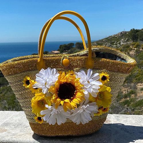 sac à main Cabas Flowers Gold customisé sur un sac en osier personnalisé