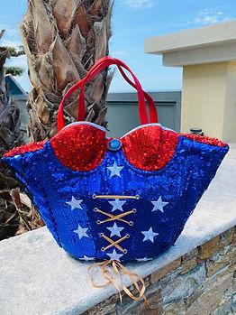 Sac cabas pour femme wonder woman l'etoile, sac customisé sur le thème Wonder Woman