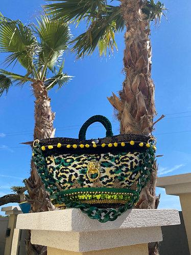 Sac à main Sicily Émeraude, personnalisé sur un sac en osier sur le thème de la sicile