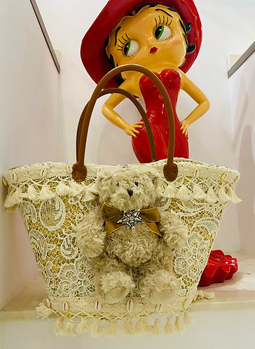 sac à main cabas ours alban sur pannier en osier par yolo-créations