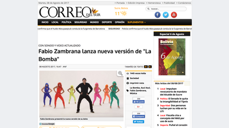 """Fabio Zambrana lanza nueva versión de """"La Bomba"""""""