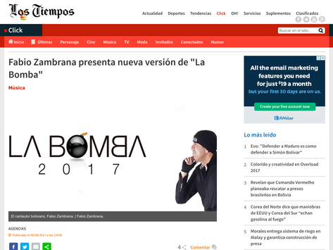 """Fabio Zambrana presenta nueva versión de """"La Bomba"""""""