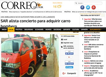 SAR alista concierto para adquirir un carro bombero.