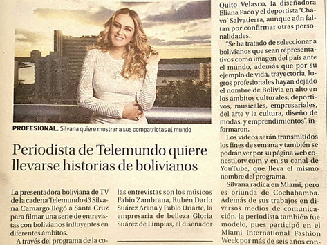 Periodista de Telemundo quiere llevarse historias de Bolivianos