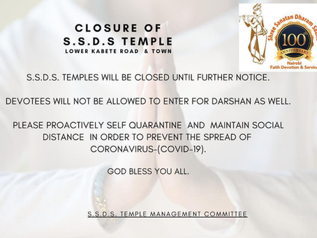 Closure of S.S.D.S Temple