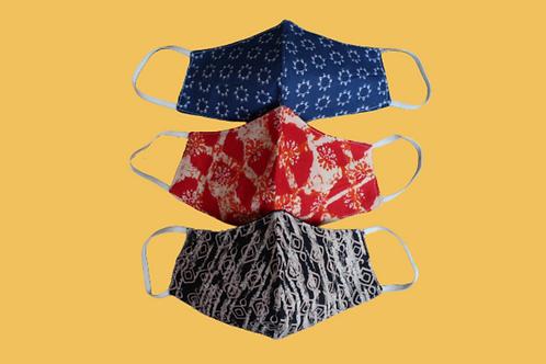 Set of 3 – Adults' Nose Masks Designer Blue, Red, Black