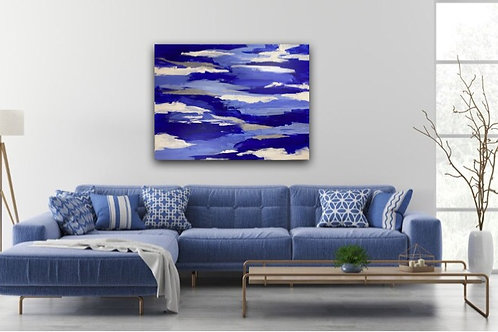 Abstract Blue & Silver