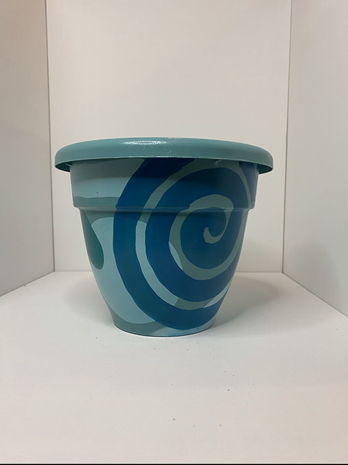 Large Abstract Blue Pot