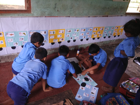 Students decorating their classroom