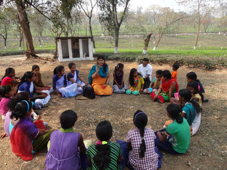 Group Counselling with Adolescence girls in Tea Garden Community on how to take care of their small siblings.