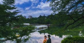 新緑の井の頭公園で和装ロケ