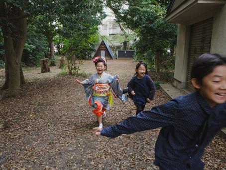 氷川台氷川神社で仲良し三人組での七五三