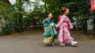 仲良し兄弟で日枝神社での七五三