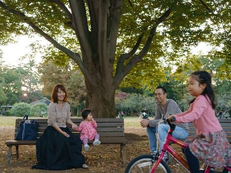 自転車に乗れるようになりました - 砧公園での家族写真
