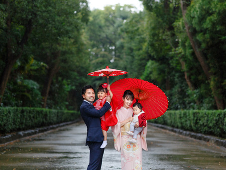 寒さなんて平気よ! 雨降る井草八幡宮での七五三