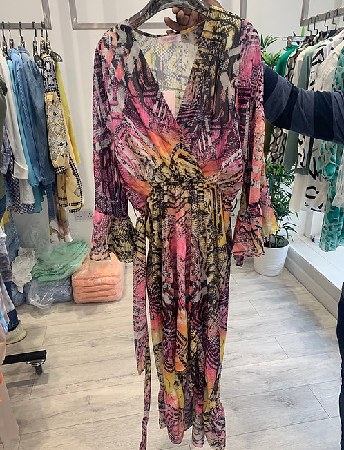 MAXI PRINTED TIE UP DRESS