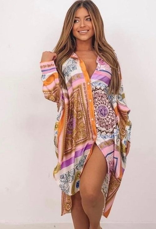 PINK PRINT OVERSIZED SHIRT DRESS