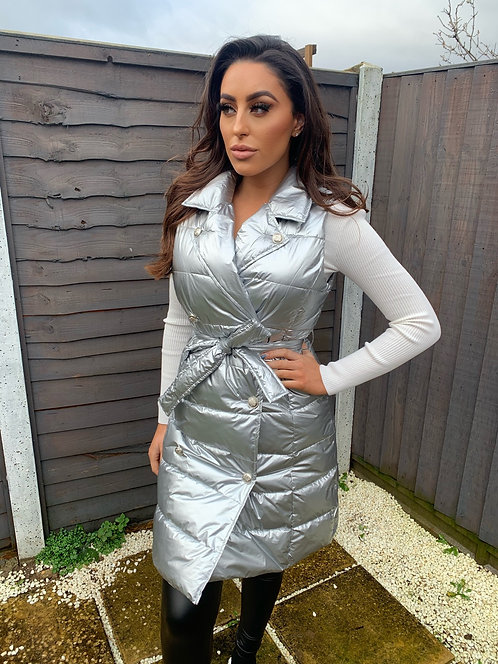 SILVER PUFFY WATERPROOF GILLET