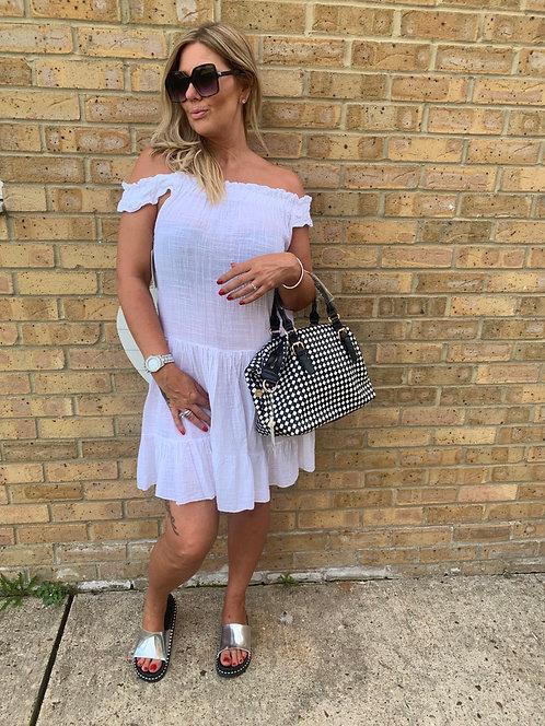 White cotton elastic dress