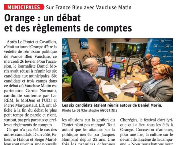 Débat France Bleu Vaucluse Orange2020