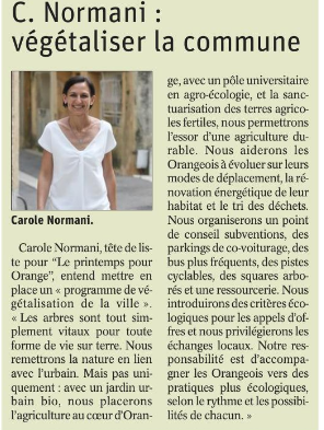 Vaucluse matin 150220 Carole Normani.PNG