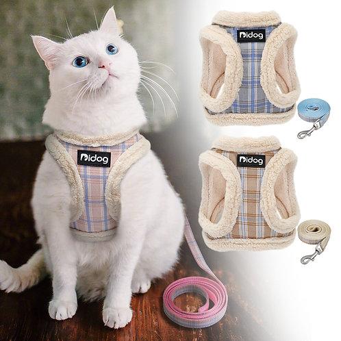 Ham Pastel Strips + Lesă - Tip Vestă, Cu Blăniță, Pentru Pisici