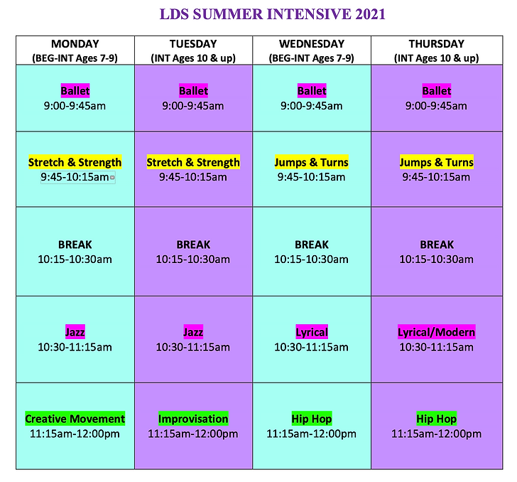 Intensive Schedule 2021