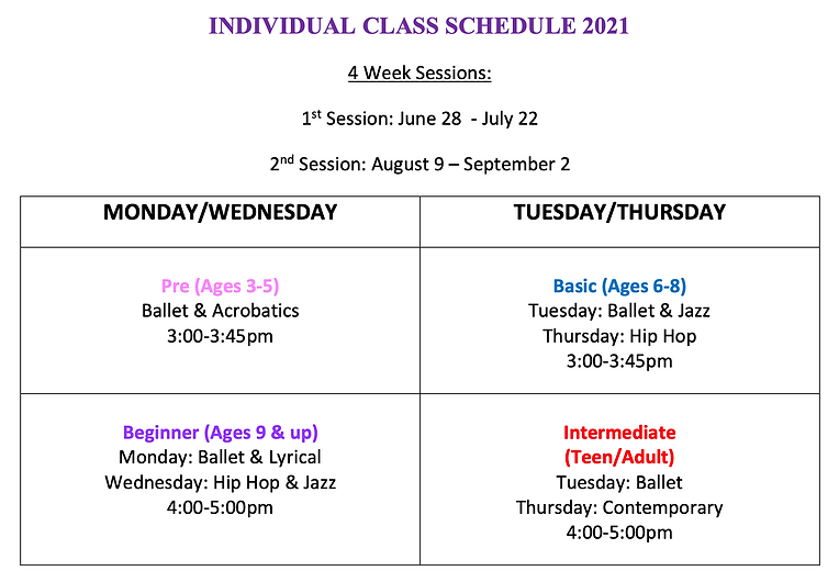 Individual Class Schedule 2021