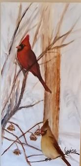Cardinals, Huile sur bois, 7.5 X 17po_