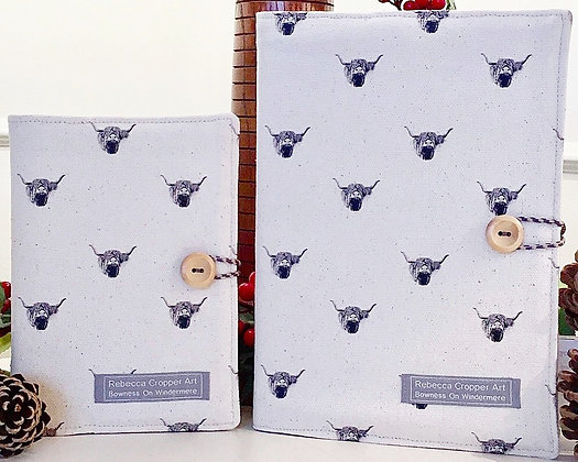 Fabric Notebook with Highland Cow from