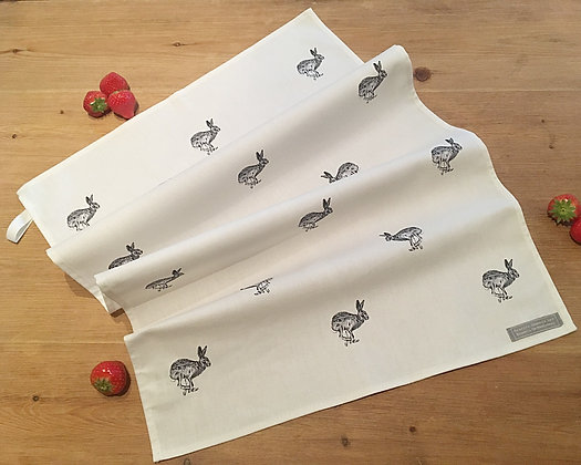 Tea Towel with Running Hare