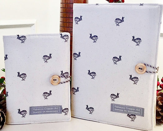 Fabric notebook with Running Hare from