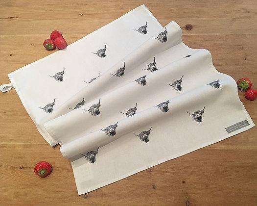 Tea Towel with Highland Cow