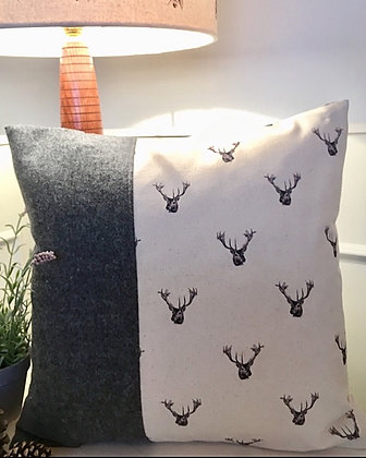 Handmade Cushion with Stag Head in Oatmeal from