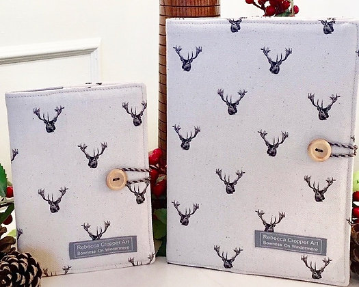 Fabric Notebook with Stag Head from