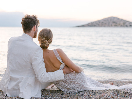 Ocean Blue with Corals Romantic Wedding Inspiration in Greece