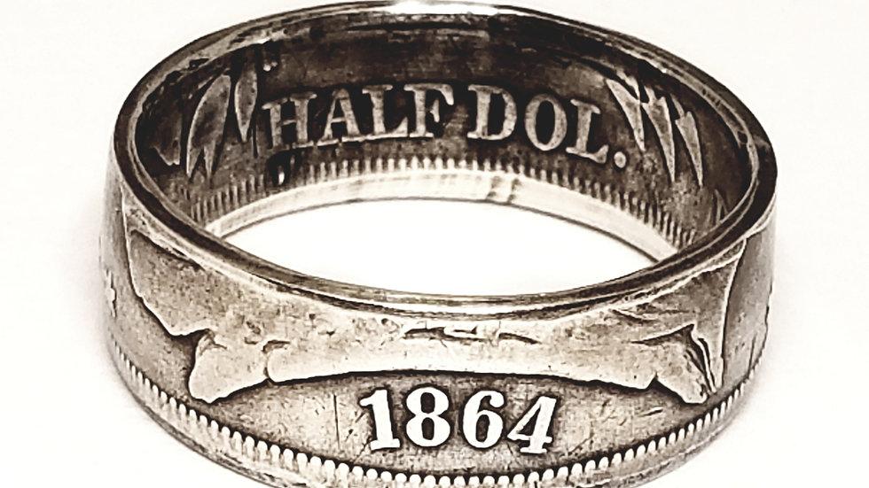 Civil War Era Seated Liberty Half Dollar Coin Ring