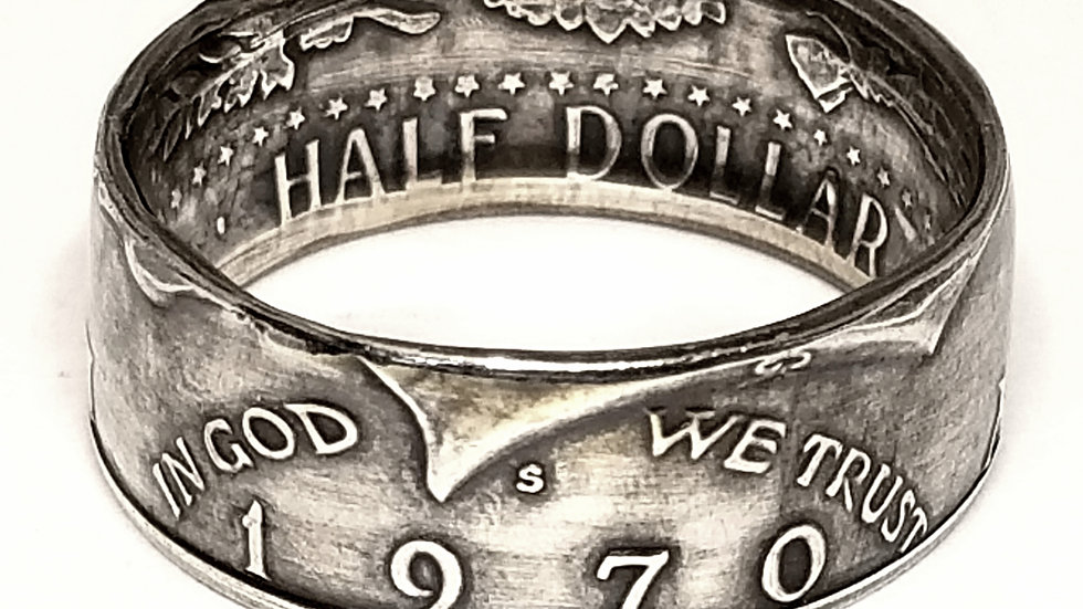 Kennedy 1964-1970 Obverse(Heads Out) 90% Silver Half Dollar Coin Ring