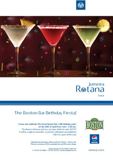 Jumeira Rotana Poster(Boston Bar)