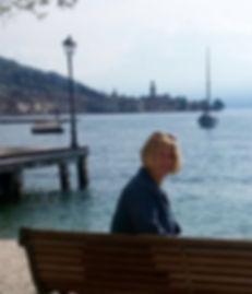 Author Alice Manica on bench Salo