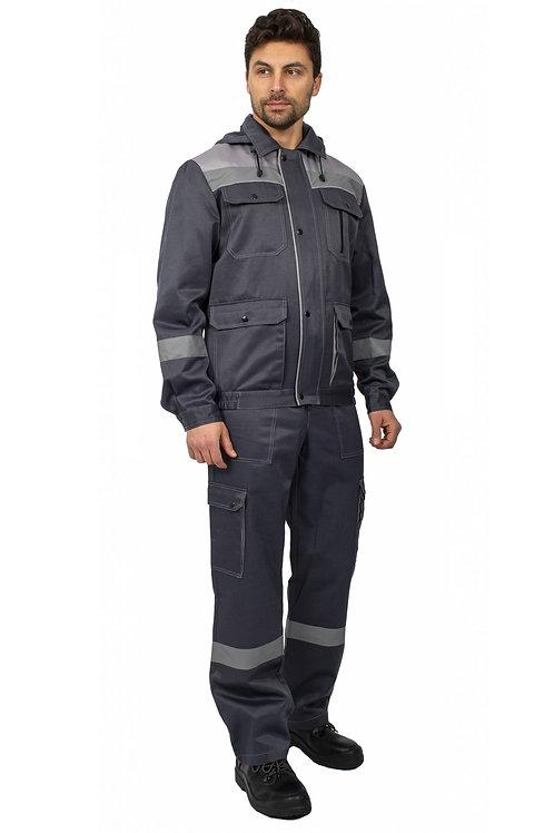 Костюм Титан СОП с капюшоном (тк.Смесовая,210) п/к, т.серый/св.серый