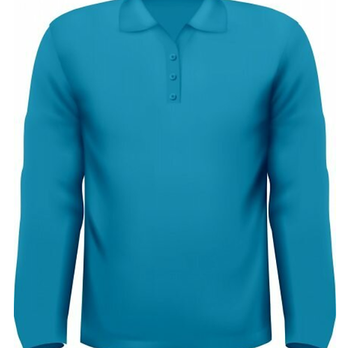 Рубашка-Поло с длинным рукавом (тк.Трикотаж,205), синий