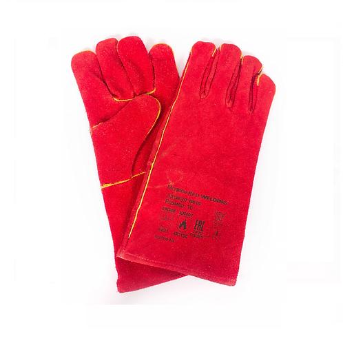 Краги спилковые красные с подкладкой (тип ТРЕК)