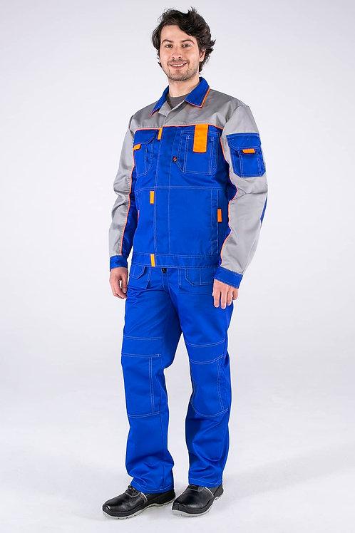 Костюм Союз-Профессионал-2 (тк.Балтекс,240) п/к, васильковый/св.серый/оранжевый