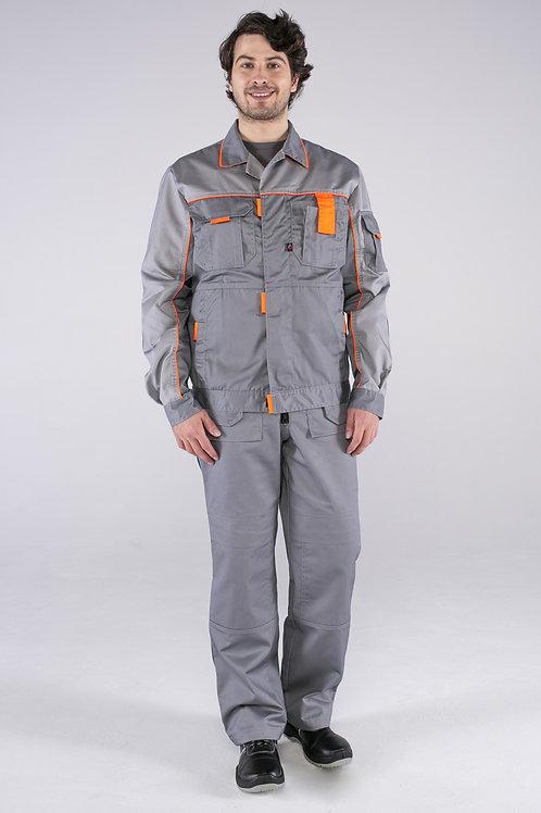 Костюм Союз-Профессионал-2 (тк.Балтекс,240) п/к, серый/св.серый/оранжевый